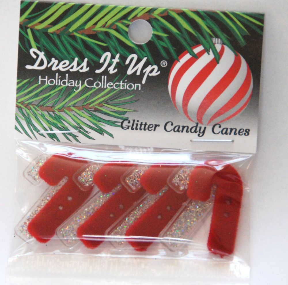 Dress it Up buttons- Glitter Candy Canes