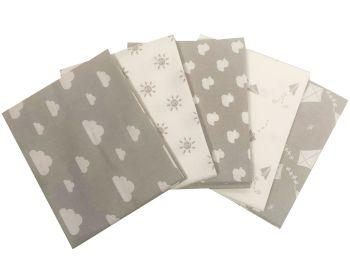 100% Cotton Fat Quarters-Nursery Basics Grey