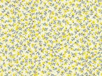 Yellow 100% Cotton fabric, Floral