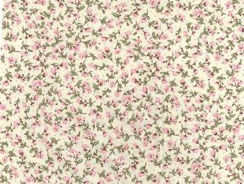 Dusky Pink 100% Cotton fabric, Floral