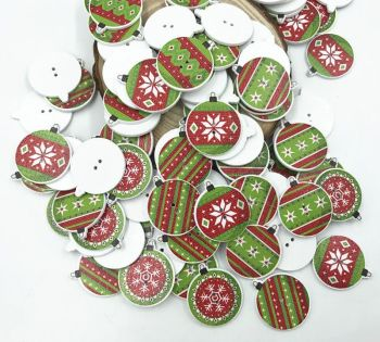 Wooden Bauble Christmas Buttons