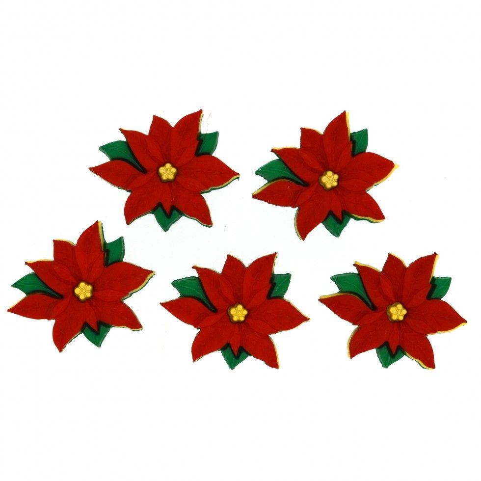 Dress It Up Buttons - Poinsettias