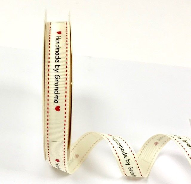 Handmade with Love by Grandma Print 16mm Cream Grosgrain Ribbon