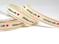 Stitched With Love Print 16mm Grosgrain Ribbon, By  Bertie's Bows