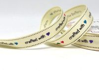 Crafted With Love Print 16mm Grosgrain Ribbon, By  Bertie's Bows