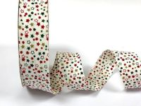 White Background With Stars Christmas Print, 30mm Bias Binding