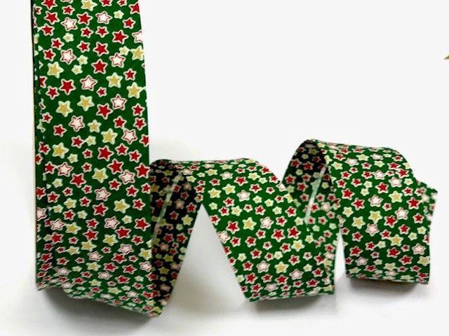 Green Background With Stars Christmas Print, 30mm Bias Binding