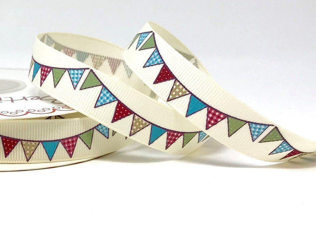 Bertie's Bows, 16mm Vintage Bunting Printed Ribbon