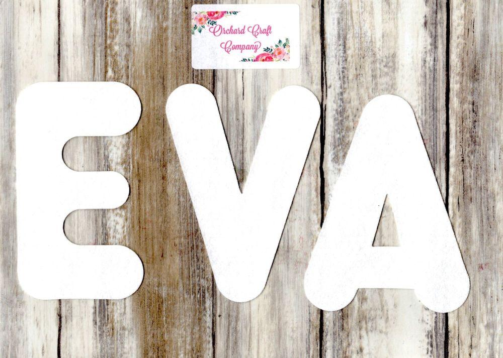Self Adhesive Felt Letters or Numbers  x 7 (12 cm) Quality Felt, Marshmallo