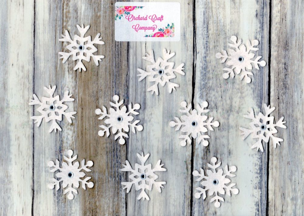 10 Self Adhesive Felt Snowflakes and gems
