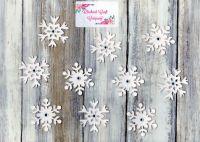 10 Self Adhesive Felt Snowflakes and gems