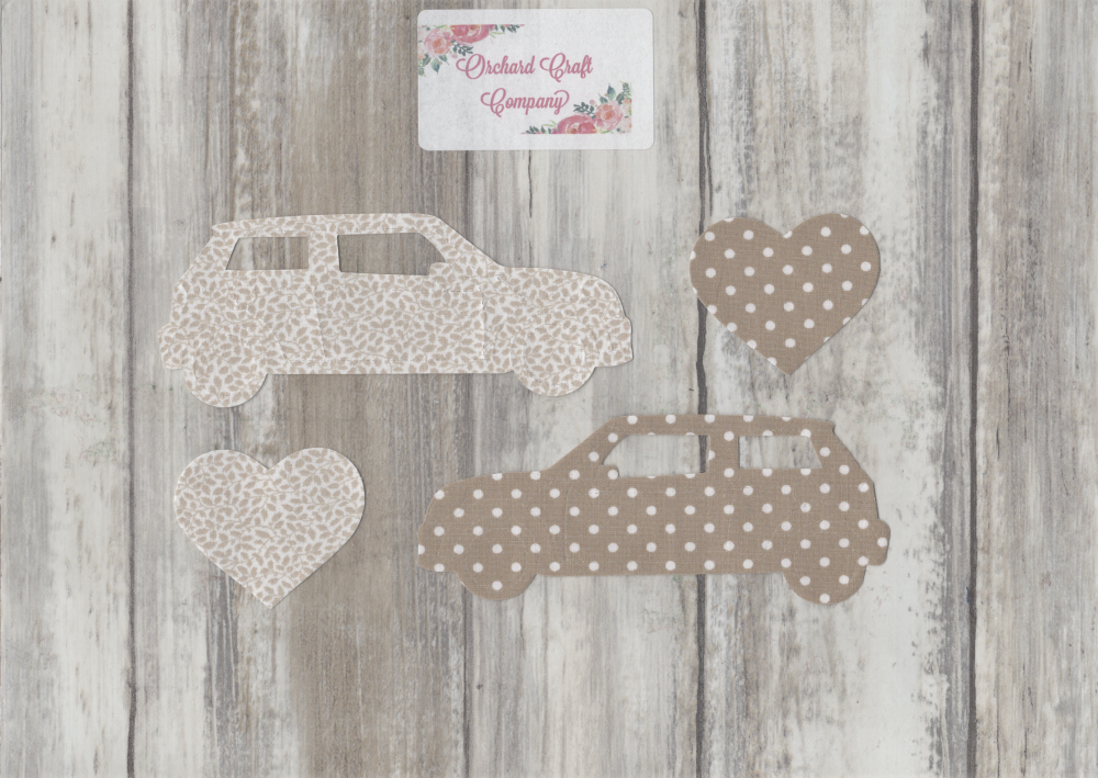Fabric Iron On Mini Cooper Cars, Dotty/Floral
