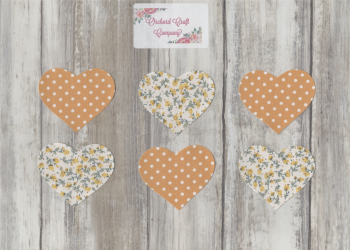 Fabric Iron On Hearts, Set of Six, Dotty/Floral