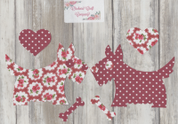 Fabric Iron On Scottie/Westie DOGS , Dotty Floral