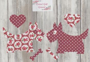 Fabric Iron On Scottie/Westie DOGS , Dotty Floral
