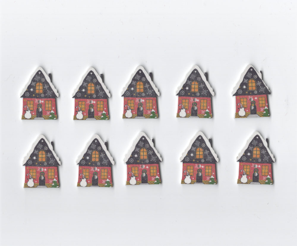Wooden Christmas House buttons