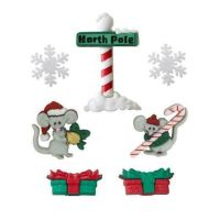 Dress It Up Buttons -No Creature Was Stirring (Christmas Mice)