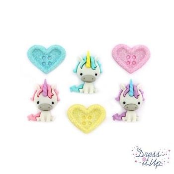 Dress It Up Buttons - Unicorn Love