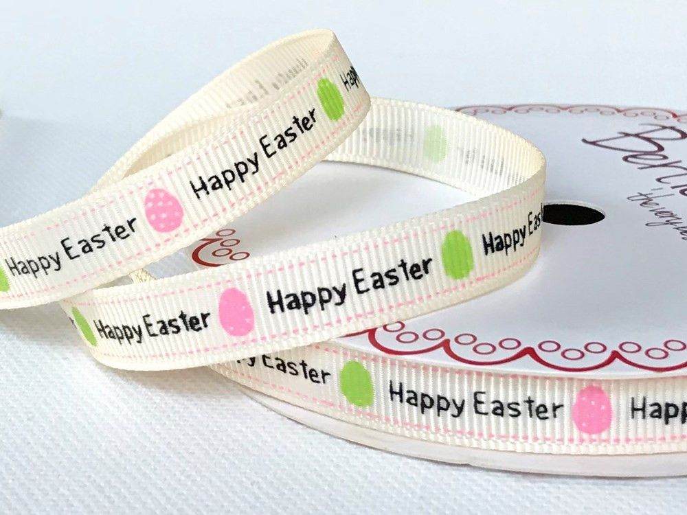 Bertie's Bows Happy Easter Print on 9mm Ivory Grosgrain Ribbon