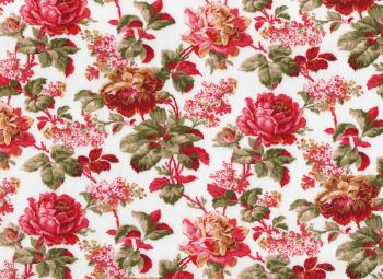 Cotton Fabric, Bright Red Floral