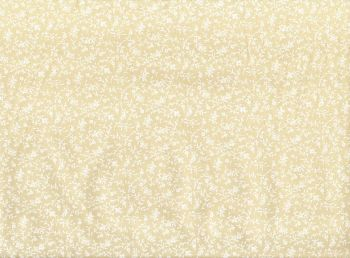 Cotton Fabric Natural Floral Beige