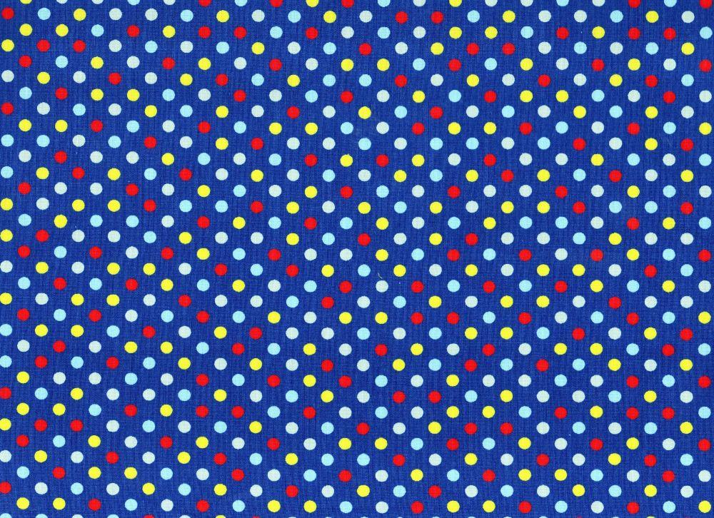 Dotty Fabric Royal Blue Background