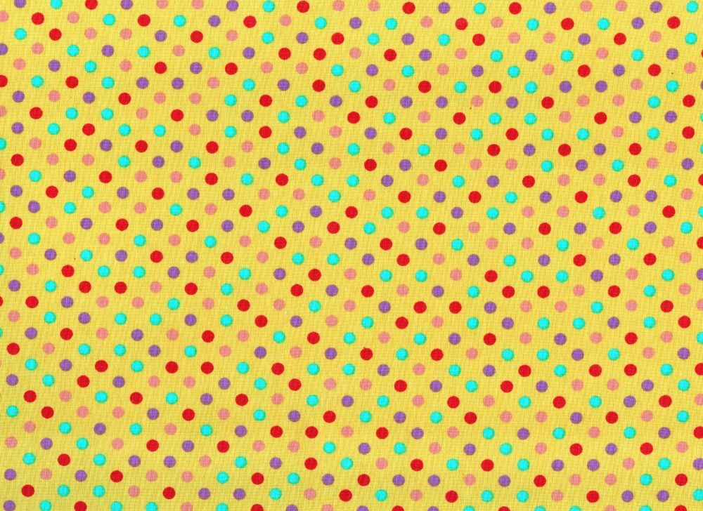 Dotty Fabric Yellow Background