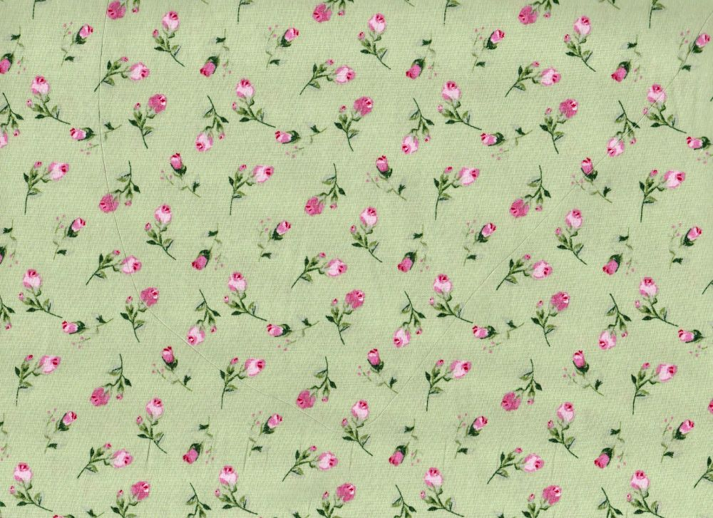 Green With Pink Flowers -  100% Cotton Poplin Fabric