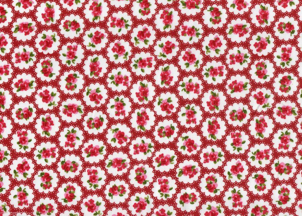 Cotton Fabric Dark Red Floral