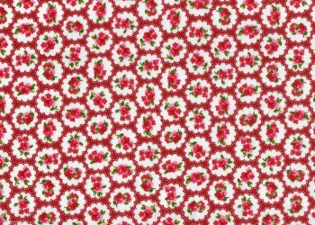 Cotton Fabric Dark Red Floral