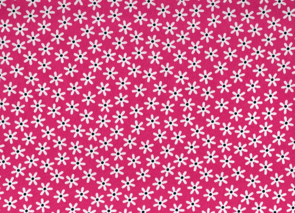 Cotton Fabric Bright Pink Floral