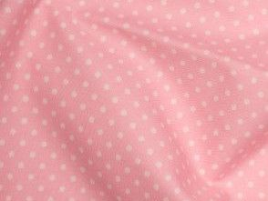 Baby Pink 100% Cotton fabric, 3 mm polka dot