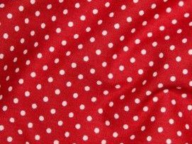 Cotton Fabric, Bright Red  3mm Polka Dot