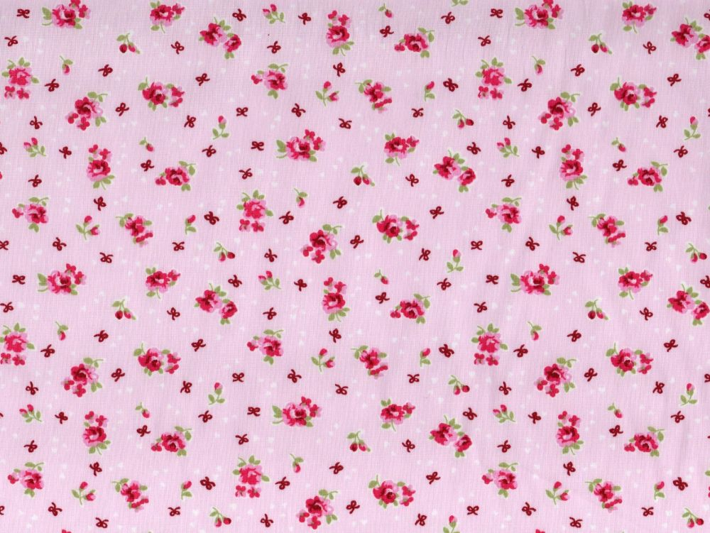 Pink Rose, Pink Background -  100% Cotton Poplin Fabric
