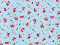 Pink Rose, Blue Background -  100% Cotton Poplin Fabric