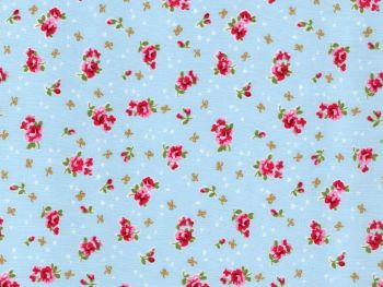 Pink Rose, Blue Background -  100% Cotton Poplin Fabric