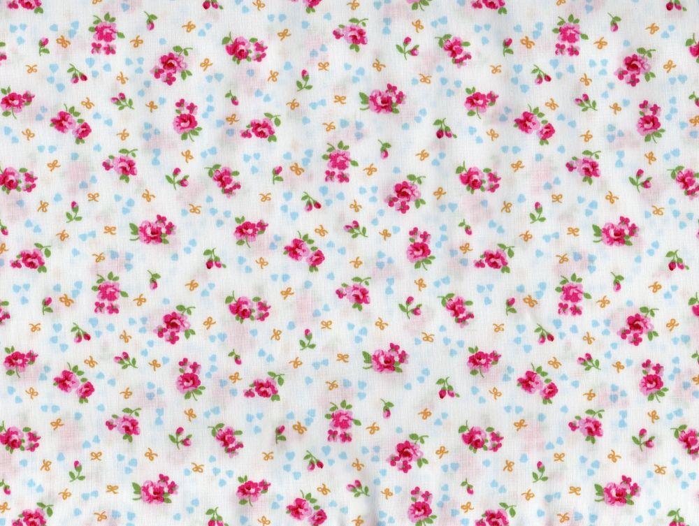 Pink Rose, White Background -  100% Cotton Poplin Fabric