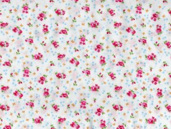 Pink Rose, White Background -  100% Cotton Poplin Fabric