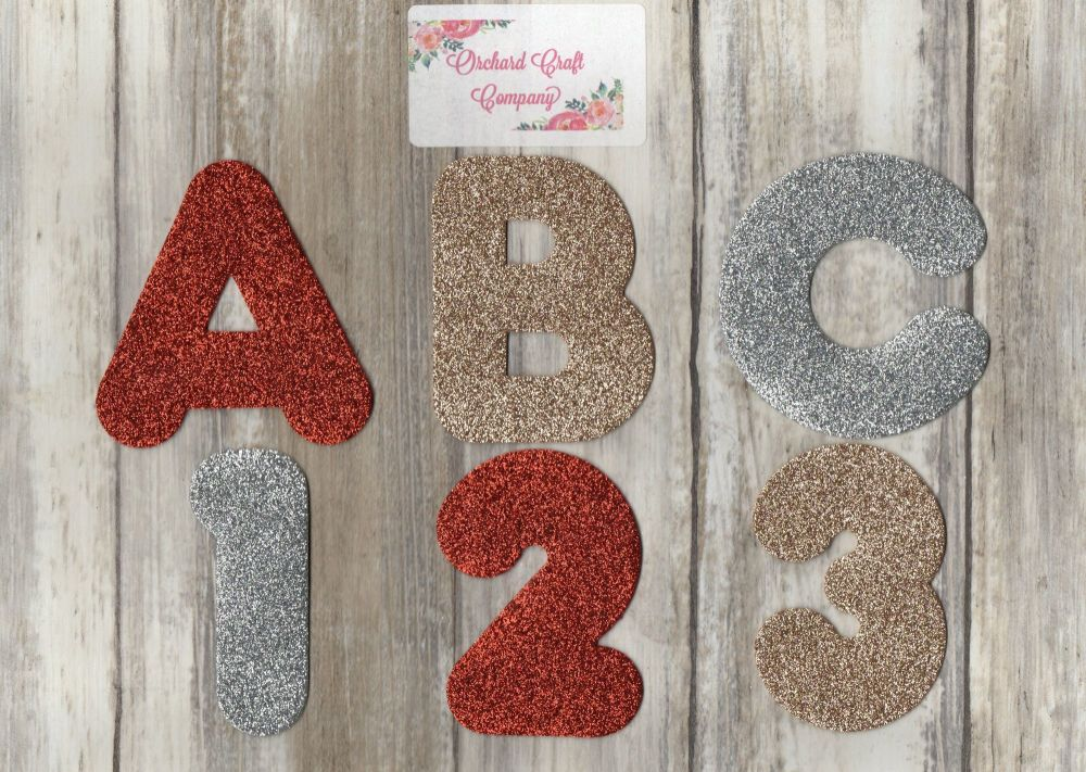 Glitter Felt Letters or Numbers  x 7 (7.5cm) Quality Felt, Marshmallow Font