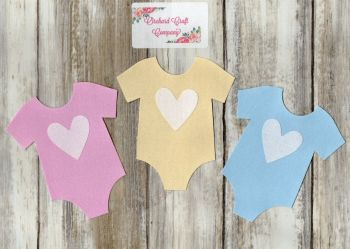 Fabric Iron On Baby Vests Plain Colours