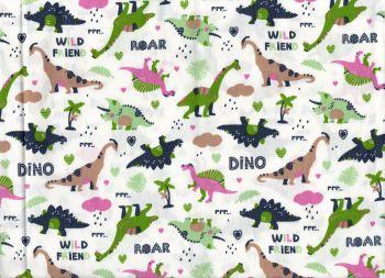 Dinosaur fabric, White Background