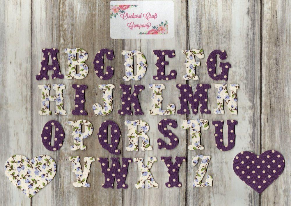 3 cm Iron On Fabric , Full Alphabet . Dotty/Floral(No Sew)