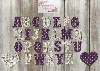 3 cm Iron On Fabric , Full Alphabet sets  . Dotty/Floral