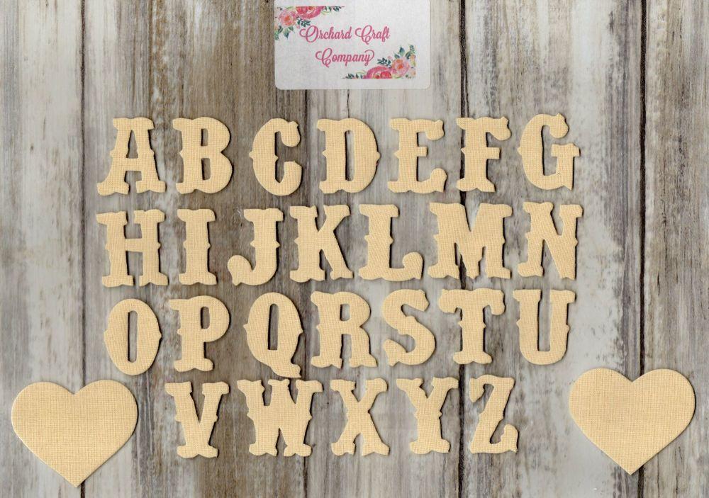 3 cm Iron On Fabric , Full Alphabet sets. Plain Colours