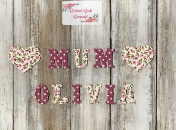 3cm Iron On Fabric ,Vintage Letters/Numbers,Dotty/Floral Set of 10