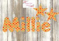 Iron On Fabric Upper/Lowercase Letters and Numbers 7.5 cm (3 Inch) Dotty