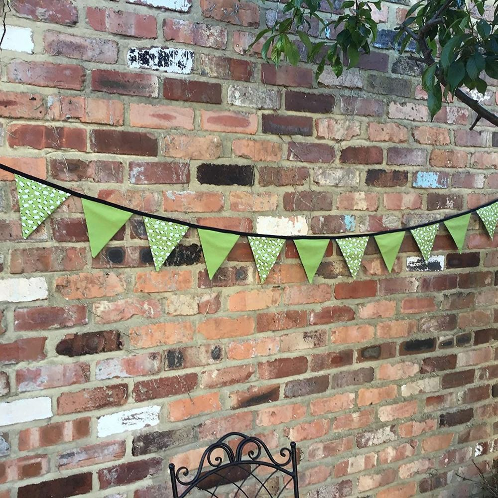 Counting Sheep Bunting 3 Metre in Olive Green and Black 100% Cotton Double