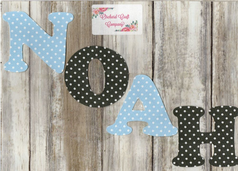 Iron On Fabric Uppercase Letters and Numbers 7.5 cm (3 Inch ) Polka Dot