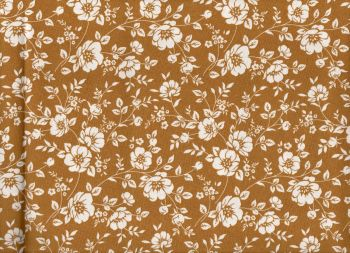 Floral fabric, Mustard with Cream Flowers,100% Cotton Poplin
