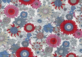 Floral fabric Deep Pink, Red,Blue, Grey,100% Cotton Poplin